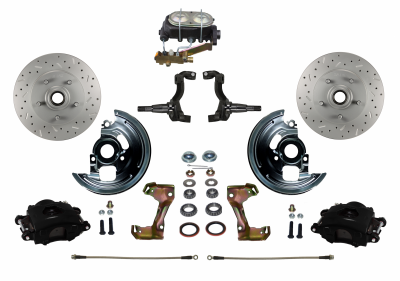 Chevy II Black front disc brake kit - LEED Brakes
