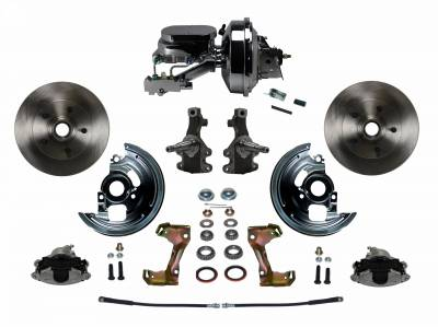"""Power Front Disc Brake Conversion Kit 2"""" Drop Spindle with 9"""" Chrome Booster Flat Top Chrome M/C Disc/Drum Side Mount"""