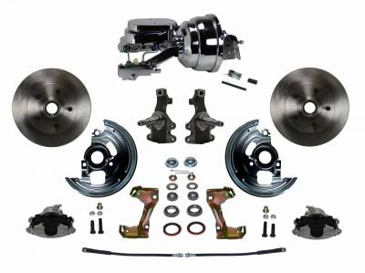 "Power Front Disc Brake Conversion Kit 2"" Drop Spindle with 8"" Dual Chrome Booster Flat Top Chrome M/C Disc/Drum Side Mount"