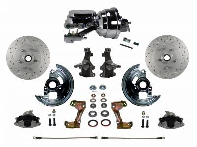 """LEED Brakes - Power Front Disc Brake Conversion Kit 2"""" Drop Spindle Cross Drilled and Slotted with 8"""" Dual Chrome Booster Flat Top Chrome M/C Disc/Disc Side Mount"""