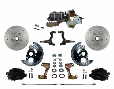 "LEED Brakes - Power Front Disc Brake Kit Drilled & Slotted Rotors Black Powder Coated Calipers  9"" Booster Disc/Disc"
