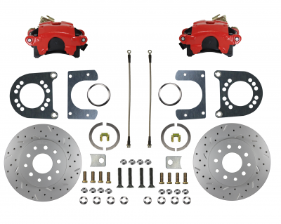 """Ford 9"""" Large Bearing """" New Style""""  red powder coated rear disc brake conversion"""