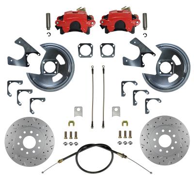 GM 10 & 12 Bolt Rear Disc Brake Kit - MaxGrip XDS - Red Powder Coated Calipers