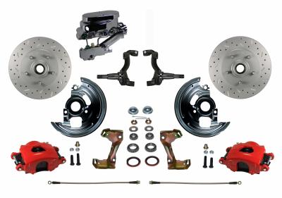 Chevy II Red Powder Coated Disc Brake Kit - LEED Brakes