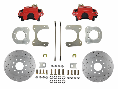 Mopar 8-1/4 9-1/4 Rear Disc Brake kit Red - LEED Brakes