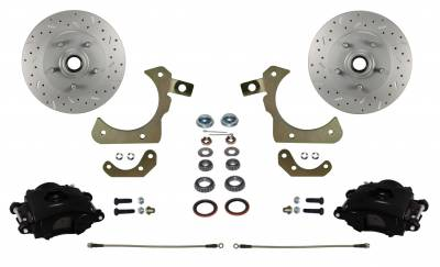 Tri-Five Front Disc Brake Kit with Black Calipers