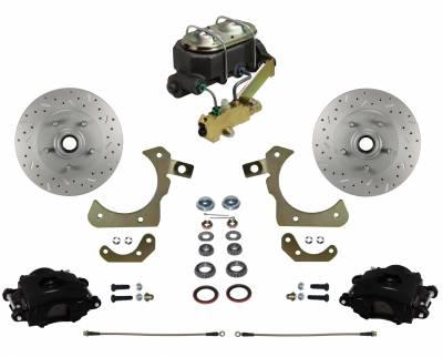 Impala Front Disc Brake Kit - Black Calipers - LEED Brakes