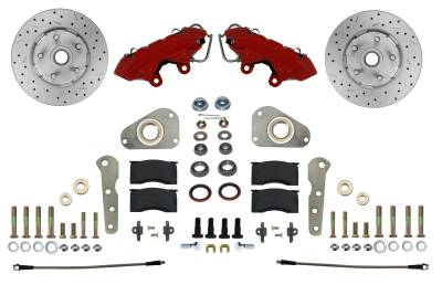 Spindle Kit Red Powder Coat Cross Drilled Rotors