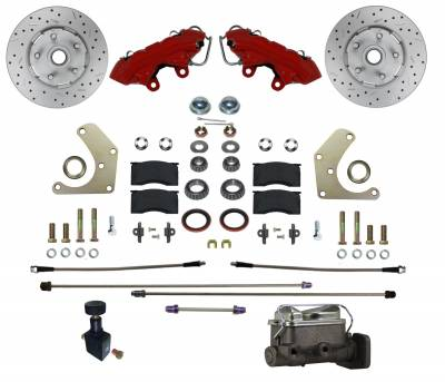 Manual Front Kit with Drilled Rotors and Red Powder Coated Calipers