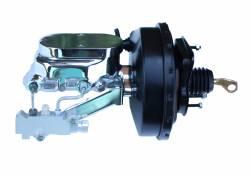 LEED Brakes - 9 inch power brake booster with bracket, 1-1/8 inch bore Flat Top master cylinder , Side mount valve, disc/drum (Black)