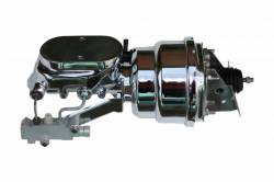 LEED Brakes - 7 inch Dual power booster , 1-1/8 inch Bore Flat Top master, side mount valve, disc/drum (Chrome)