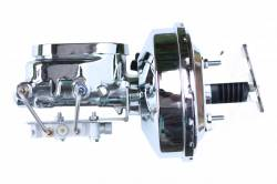 LEED Brakes - 9 inch power booster , 1-1/8 inch Bore Flat Top master, bottom mount valve. Disc/drum (Chrome)