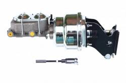 Power Brake Booster Kits - Power Brakes - Front Disc / Rear Drum Brakes - LEED Brakes - 7 inch Dual power booster , 1-1/8 inch Bore master with chrome lid, (Chrome)