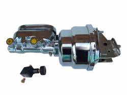 Master Cylinders & Power Boosters - Power Brake Booster Kits - LEED Brakes - 7 inch Dual power booster , 1-1/8 inch Bore Flat Top master with Adjustable Proportioning Valve (Chrome)