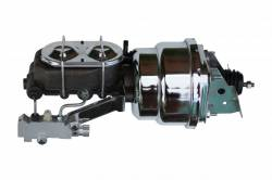Master Cylinders & Power Boosters - Power Brake Booster Kits - LEED Brakes - 7 inch Dual power booster , 1-1/8 inch Bore master with Chrome Lid & side mount valve, disc/drum (Chrome)