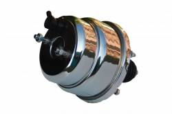 LEED Brakes - 7 inch Dual power booster , 1-1/8 inch Bore master with Chrome Lid & side mount valve, disc/disc (Chrome) - Image 4