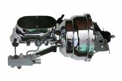 LEED Brakes - 8 inch Dual power booster , 1-1/8 inch Bore Flat Top master, side mount valve, disc/drum (Chrome) - Image 1