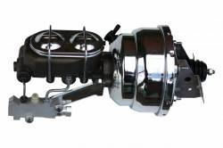 LEED Brakes - 8 inch Dual power booster , 1-1/8 inch Bore master with Chrome Lid & side mount valve, disc/drum (Chrome)