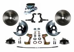 Universal Fit Products - Universal Front Disc Brake Conversions - LEED Brakes - Manual Front Disc Brake Conversion Kit with Chrome Aluminum Flat Top M/C Disc/Drum Side Mount - Assembled