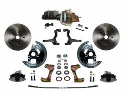 "Power Front Kit - Stock Ride Height - _Standard Kit - LEED Brakes - Power Front Disc Brake Conversion Kit with 8"" Dual Zinc Booster Cast Iron M/C Adjustable Proportioning Valve"