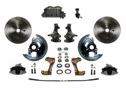 "Front Disc Brake Conversion Kits - Manual Front Kits - LEED Brakes - Manual Front Disc Brake Conversion 2"" Drop Spindle with Cast Iron M/C Adjustable Proportioning Valve"