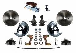 """Universal Fit Products - Universal Front Disc Brake Conversions - LEED Brakes - Manual Front Disc Brake Conversion 2"""" Drop Spindle with Cast Iron Chrome Top M/C Adjustable Proportioning Valve- Assembled"""
