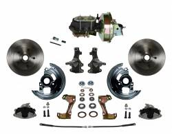 """Universal Fit Products - Universal Front Disc Brake Conversions - LEED Brakes - Power Front Disc Brake Conversion 2"""" Drop Spindle with 9"""" Zinc Booster Cast Iron M/C Disc/Drum Bottom Mount"""