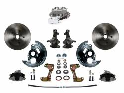 """Universal Fit Products - Universal Front Disc Brake Conversions - LEED Brakes - Manual Front Disc Brake Conversion 2"""" Drop Spindle with Cast Iron Chrome Top M/C Disc/Disc Side Mount - Assembled"""
