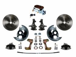 """Universal Fit Products - Universal Front Disc Brake Conversions - LEED Brakes - Manual Front Disc Brake Conversion 2"""" Drop Spindle with Chrome Aluminum Flat Top M/C Adjustable Proportioning Valve - Assembled"""