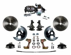 """Universal Fit Products - Universal Front Disc Brake Conversions - LEED Brakes - Power Front Disc Brake Conversion Kit 2"""" Drop Spindle with 9"""" Chrome Booster Cast Iron Chrome Top M/C Disc/Drum Side Mount"""
