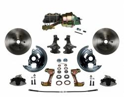 """Universal Fit Products - Universal Front Disc Brake Conversions - LEED Brakes - Power Front Disc Brake Conversion Kit 2"""" Drop Spindle with 7"""" Dual Zinc Booster Cast Iron M/C Disc/Drum Side Mount"""