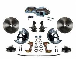 """Universal Fit Products - Universal Front Disc Brake Conversions - LEED Brakes - Power Front Disc Brake Conversion Kit 2"""" Drop Spindle with 7"""" Dual Chrome Booster Flat Top Chrome M/C Adjustable Proportioning Valve"""