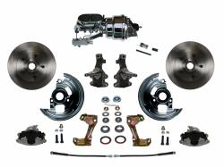 """Universal Fit Products - Universal Front Disc Brake Conversions - LEED Brakes - Power Front Disc Brake Conversion Kit 2"""" Drop Spindle with 7"""" Dual Chrome Booster Flat Top Chrome M/C Disc/Disc Side Mount"""