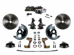 """Universal Fit Products - Universal Front Disc Brake Conversions - LEED Brakes - Power Front Disc Brake Conversion Kit 2"""" Drop Spindle with 7"""" Dual Chrome Booster Cast Iron Chrome Top M/C Adjustable Proportioning Valve"""