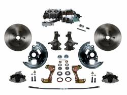 """Universal Fit Products - Universal Front Disc Brake Conversions - LEED Brakes - Power Front Disc Brake Conversion Kit 2"""" Drop Spindle with 7"""" Dual Chrome Booster Cast Iron Chrome Top M/C Disc/Drum Side Mount"""