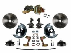 "Front Disc Brake Conversion Kits - Power Front Kits - LEED Brakes - Power Front Disc Brake Conversion Kit 2"" Drop Spindle with 8"" Dual Zinc Booster Cast Iron M/C Disc/Drum Side Mount"