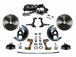 """Universal Fit Products - Universal Front Disc Brake Conversions - LEED Brakes - Power Front Disc Brake Conversion Kit 2"""" Drop Spindle with 8"""" Dual Chrome Booster Cast Iron Chrome Top M/C Disc/Drum Side Mount"""