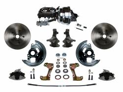 """Universal Fit Products - Universal Front Disc Brake Conversions - LEED Brakes - Power Front Disc Brake Conversion Kit 2"""" Drop Spindle with 8"""" Dual Chrome Booster Cast Iron Chrome Top M/C Disc/Disc Side Mount"""