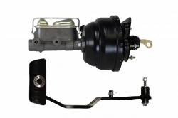 Power Brake Booster Kits - Power Brakes - Front Disc / Rear Drum Brakes - LEED Brakes - 8 inch Dual Diaphragm power brake booster with bracket, 1 inch bore master cylinder with Automatic Trans Brake Pedal (Black)