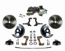 "Power Front Kits - Power Front Kit - Stock Ride Height - LEED Brakes - Power Front Disc Brake Conversion Kit with 9"" Zinc Booster Cast Iron M/C Disc/Drum Side Mount"