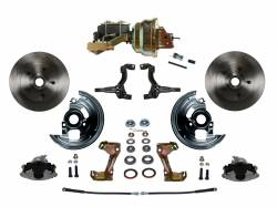 "Power Front Kit - Stock Ride Height - _Standard Kit - LEED Brakes - Power Front Disc Brake Conversion Kit with 8"" Dual Zinc Booster Cast Iron M/C Disc/Drum Side Mount"
