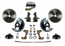 "Front Disc Brake Conversion Kits - Manual Front Kits - LEED Brakes - Manual Front Disc Brake Conversion 2"" Drop Spindle with Cast Iron M/C 4 Wheel Disc Side Mount"