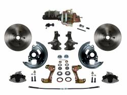 "Front Disc Brake Conversion Kits - Power Front Kits - LEED Brakes - Power Front Disc Brake Conversion Kit 2"" Drop Spindle with 8"" Dual Zinc Booster Cast Iron M/C Adjustable Proportioning Valve"