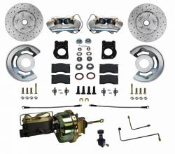 Front Disc Brake Conversion Kits - All Front Disc Brake Kits - LEED Brakes - Power Disc Brake Conversion 64.5-66 Ford Automatic Trans | 4 Piston Calipers MaxGrip XDS Rotors