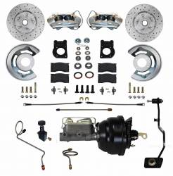 Front Disc Brake Conversion Kits - Power Front Kits - LEED Brakes - Power Disc Brake Conversion 67-69 Ford | Manual Transmission | 4 Piston Calipers MaxGrip XDS Rotors