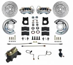 Front Disc Brake Conversion Kits - Manual Front Kits - LEED Brakes - Manual Disc Brake Conversion 70 Mustang | 4 Piston Caliper MaxGrip XDS Rotors