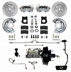 Front Disc Brake Conversion Kits - All Front Disc Brake Kits - LEED Brakes - Power Disc Brake Conversion 70 Mustang with Automatic Transmission | 4 Piston Caliper MaxGrip XDS Rotors