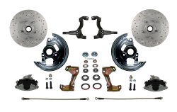 Front Disc Brake Conversion Kits - Spindle Mount Kits - LEED Brakes - Spindle Mount Kit Cross Drilled and Slotted Rotors