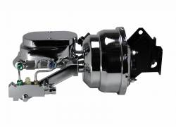 LEED Brakes - 8 inch Dual power booster , 1 inch Bore Flat Top master, side mount valve, disc/disc(Chrome)