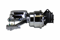 LEED Brakes - 7 inch Dual power booster , 1 inch Bore Flat Top master, side mount valve, drum/drum(Chrome)